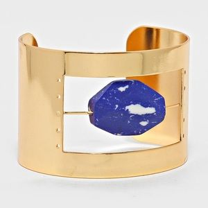 Marble Stone Accented Metal Cage Cuff Bracelet